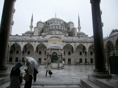 Blue Mosque in the rain
