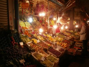 Fruit and veg markets at night, Kadikoy