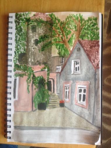 Pretty view in Tallinn, watercolours