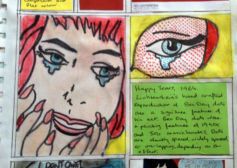 Me copying Roy Lichtenstein's 'Crying Girl', who copied from comic books. Is that post post modern...