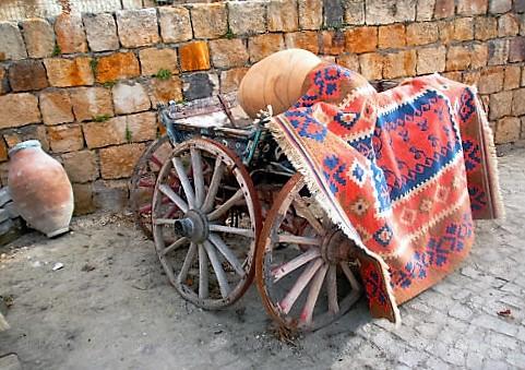 Turkish rug and wagon, Cappadocia
