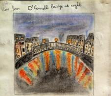 Ha'penny Bridge in colouring pencils
