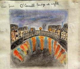 Ha'penny Bridge in colouring pencils