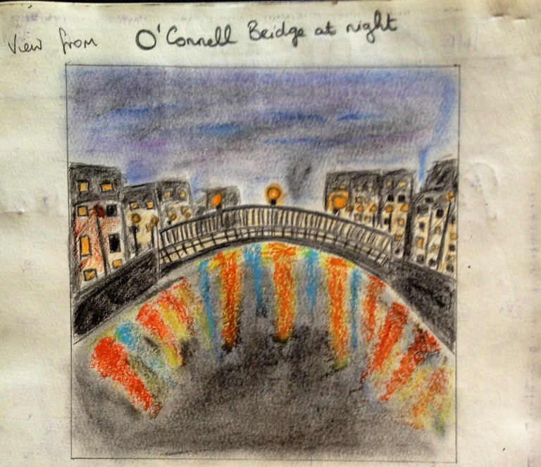 View from O'Connell Bridge, Dublin, at night