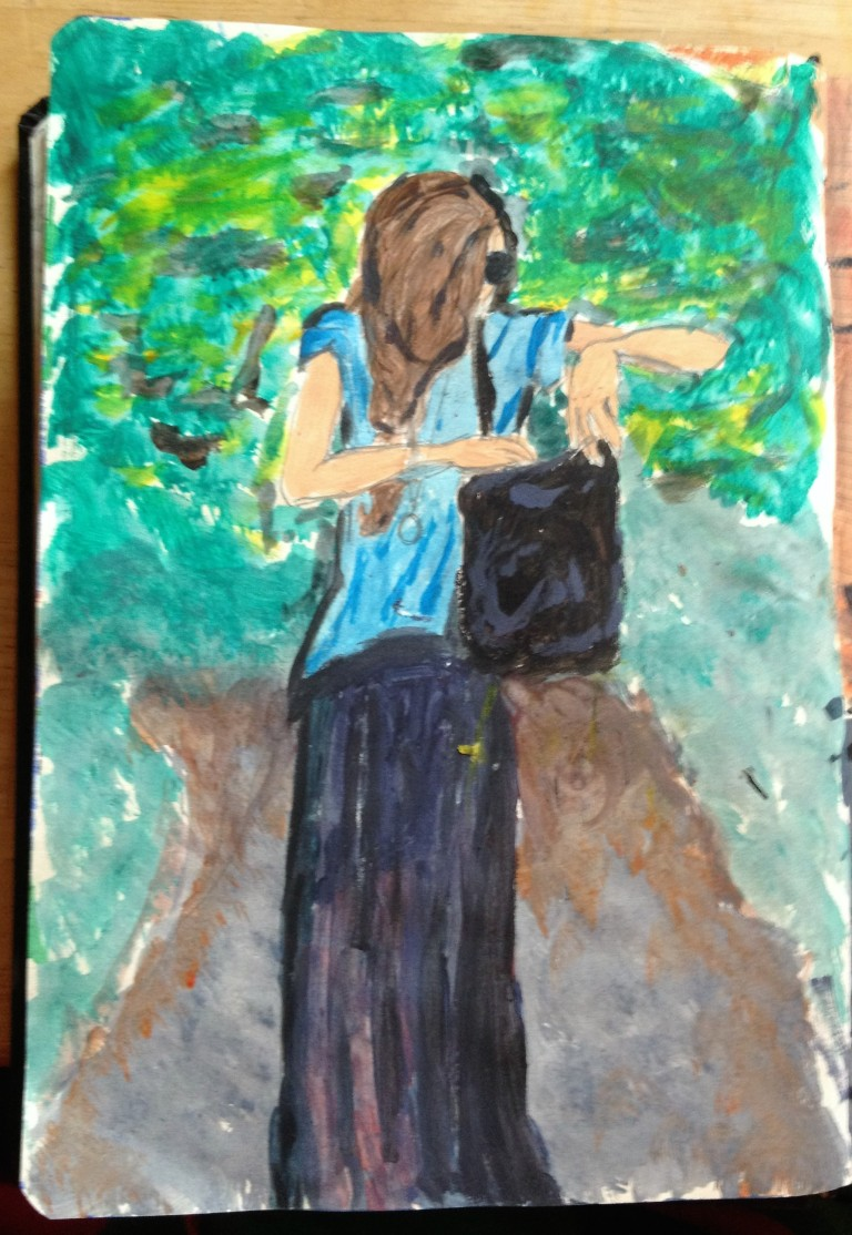 Woman walking in a park