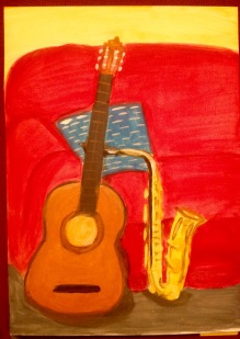 Guitar and saxophone in acrylics
