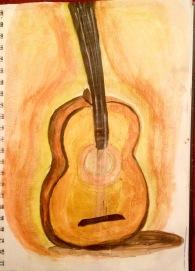 Guitar in acrylics
