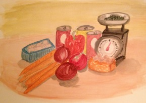 Still life vegetables in watercolours