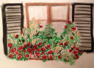 Window box in oil pastels