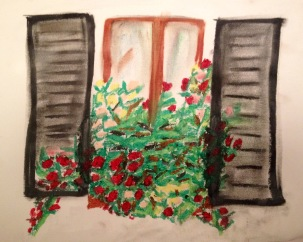 Window box in oil pastels on paper primed with gesso