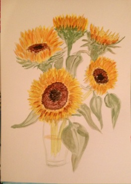 Sunflowers in acrylics