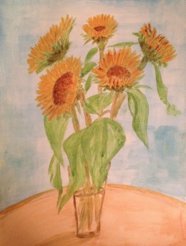 Sunflowers in watercolours