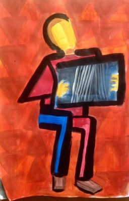 Blue and red accordionist