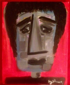 Crying man in acrylics