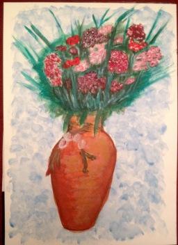 Sweet Williams in Rustic Vase