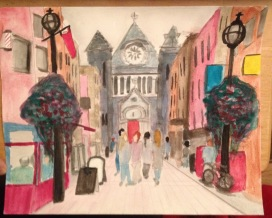 Watercolour painting of St. Anne's Street in Dublin, Ireland.