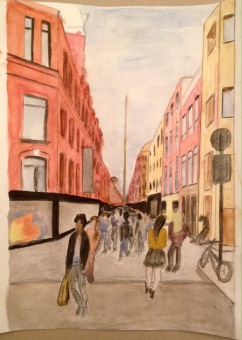 Watercolour painting of Henry Street in Dublin.