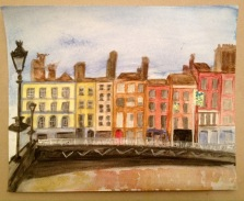 Painting of the Quays in Dublin city, Ireland, in watercolour paints.