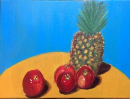 Pineapple and Red Apples in acrylics