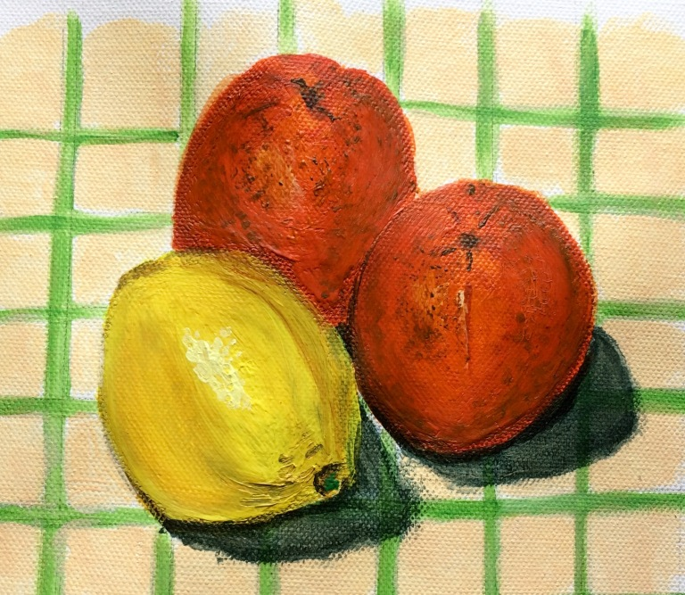 Oranges and lemons on tablecloth in acrylics