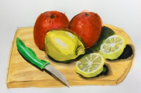 Sketchbook painting of oranges and lemons on a chopping board in acrylic paints.