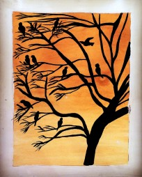 Ink drawing of birds in a tree with tea stained background
