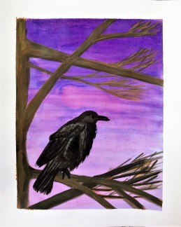 Ink painting of a raven in tree and purple sky
