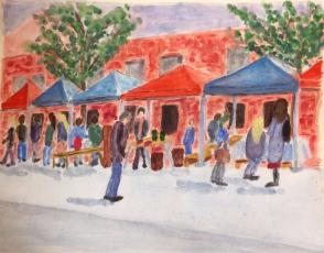 Watercolour sketch of a flea market in Dublin