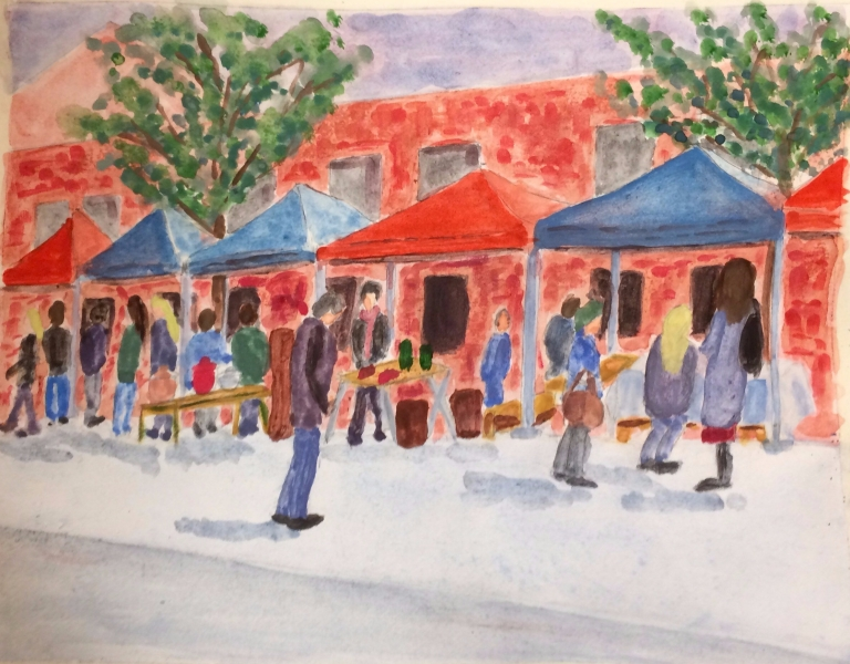 Watercolour sketch of a flea market in Dublin
