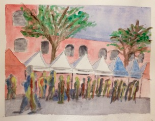Dublin Flea Market painting in watercolours