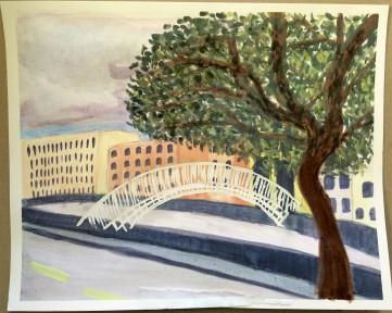 watercolour-painting-Ha'penny-bridge-Dublin