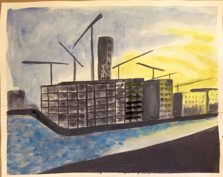 Watercolour painting of the sunset over capital dock