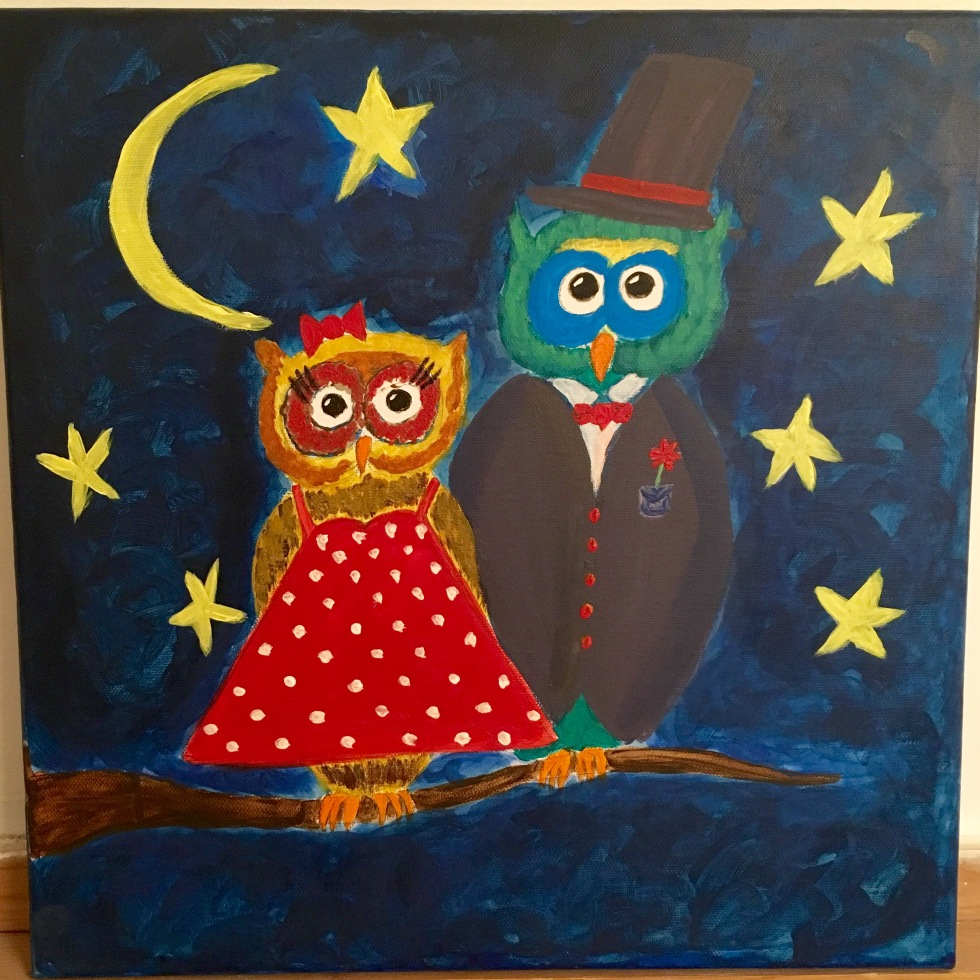 Colourful owls in a tree - acrylic painting on canvas