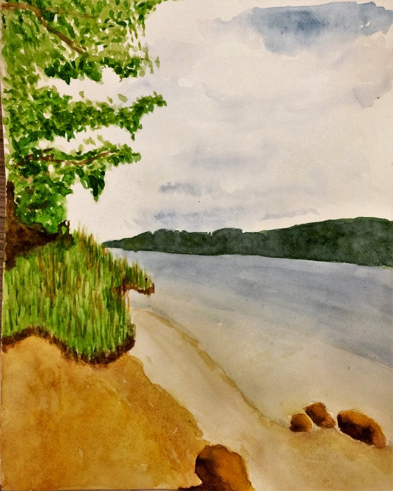 Watercolour painting of Lac du Chalain in the Jura region of France.