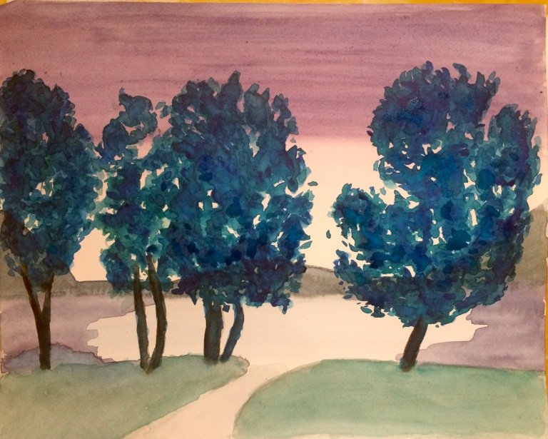 Watercolour of a lake at sunset with trees to the forefront
