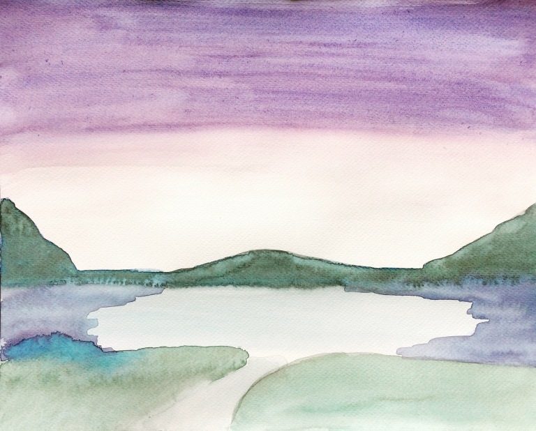 Watercolour of a lake at sunset without trees to forefront.