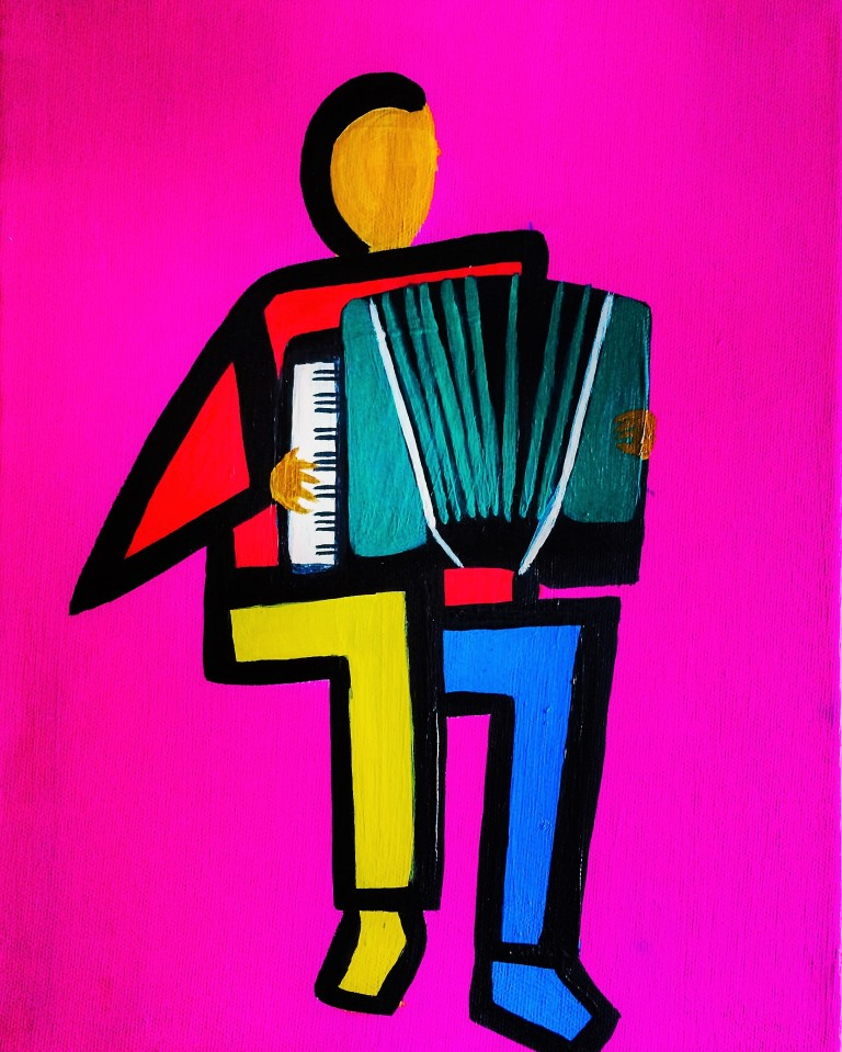 Painting of an accordionist in geometric shapes in acrylics on canvas