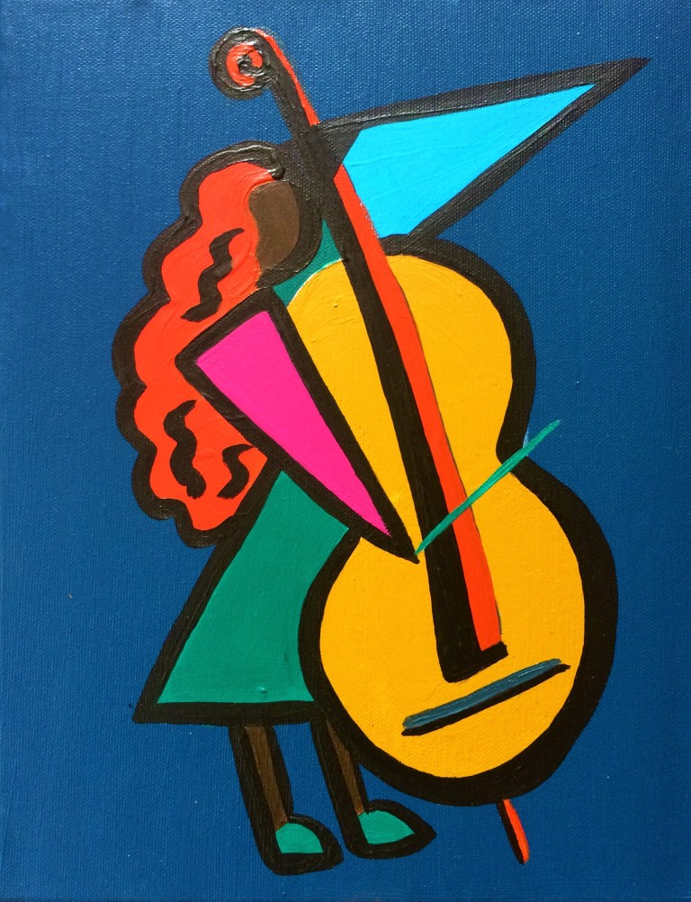 Painting of a cellist in geometric shapes in acrylics on canvas