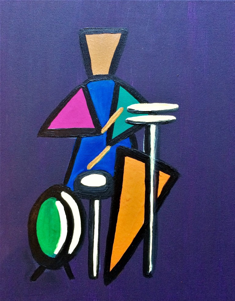Painting of a drummer in geometric shapes in acrylics on canvas