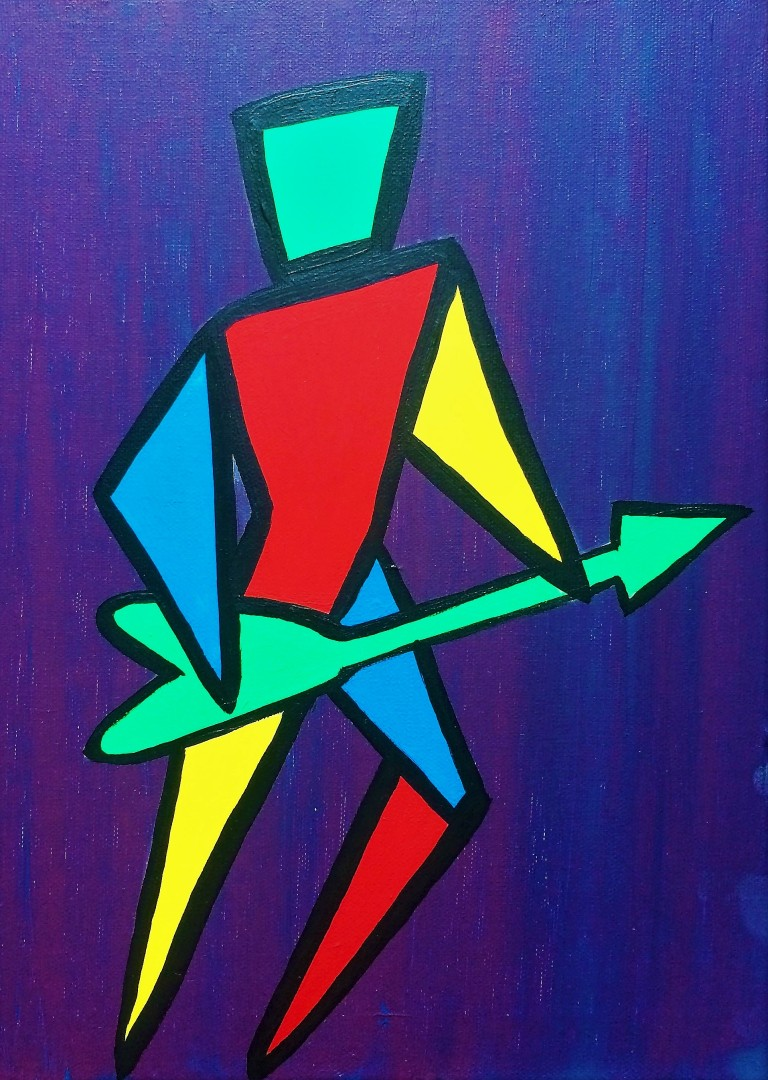 Painting of electric guitarist in geometric shapes in acrylics on canvas