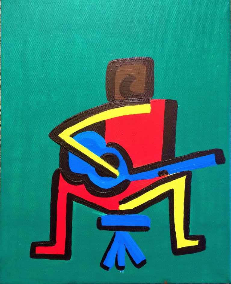Paining of a Guitarist in bold shapes acrylics on canvas