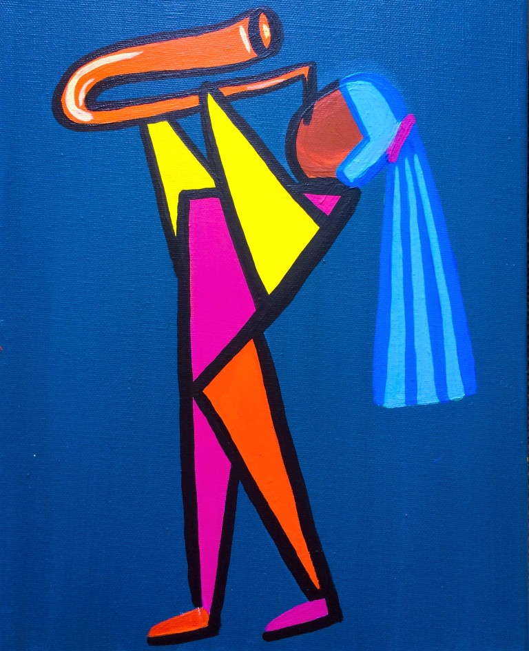 Acrylic Paining of a Saxophonist in Geometric Shapes on Canvas
