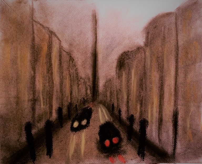 City street at night in soft pastels
