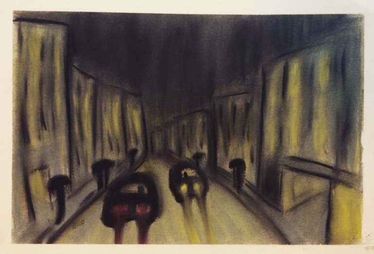 City street at night in charcoal and soft pastels