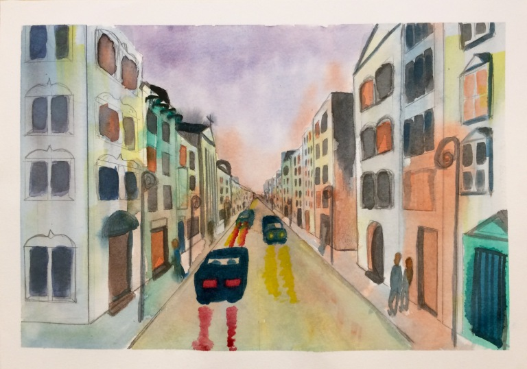Watercolour painting of a city street at nightfall