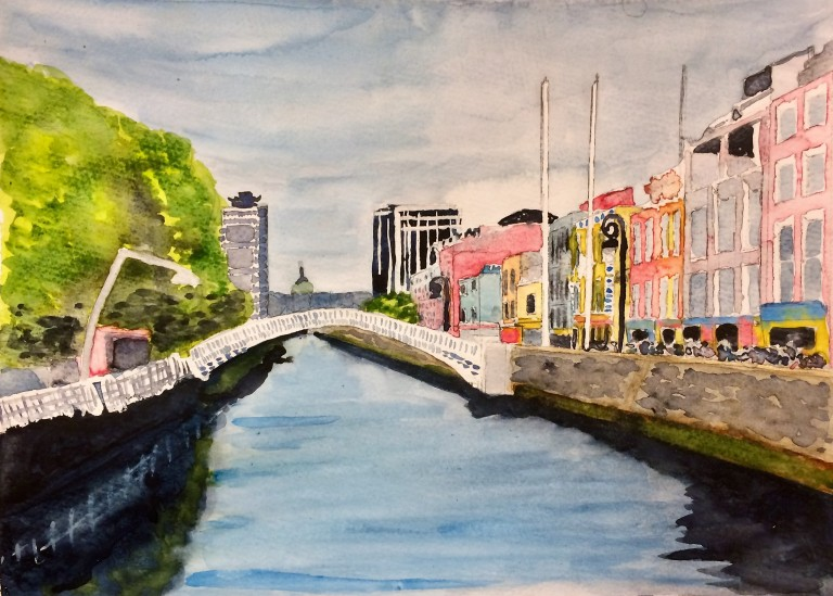 View of Dublin city along the liffey in watercolours