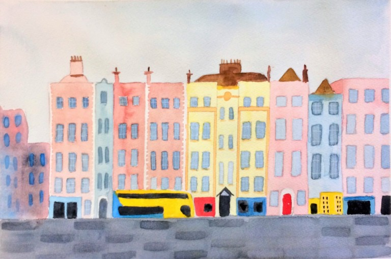 Dublin quays in watercolours and pastel colours